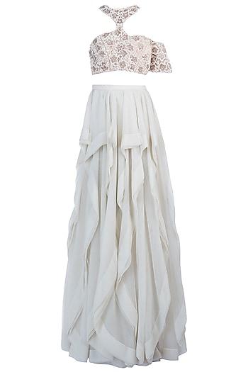 Offwhite Embellished Lehenga Skirt with Blouse by Diya Rajvvir