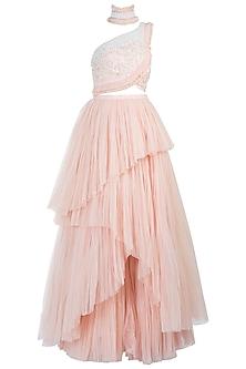 Blush Pink Embellished Lehenga Skirt with Scallop Blouse by Diya Rajvvir