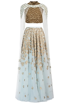 Ice Blue Embellished Lehenga Skirt with Blouse and Cape by Diya Rajvvir