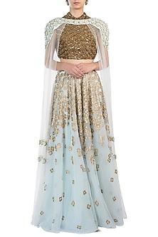Ice Blue Embellished Lehenga Skirt with Blouse and Cape by Diya Rajvvir