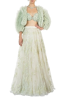 Mint Green Fru Jacket with Embellished Lehenga Skirt and Blouse by Diya Rajvvir