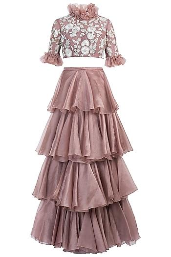 Onion Pink Embelished Blouse with Lehenga Skirt by Diya Rajvvir
