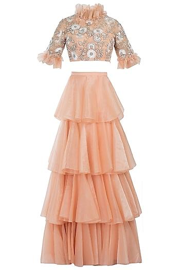 Peach Embelished Rafia Blouse with Lehenga Skirt by Diya Rajvvir