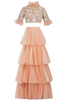 Peach Embelished Rafia Blouse with Lehenga Skirt by Diya Rajvvir
