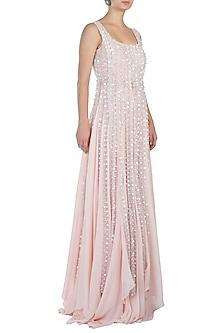 Blush Pink Embellished Blouse with Lehenga Skirt by Diya Rajvvir