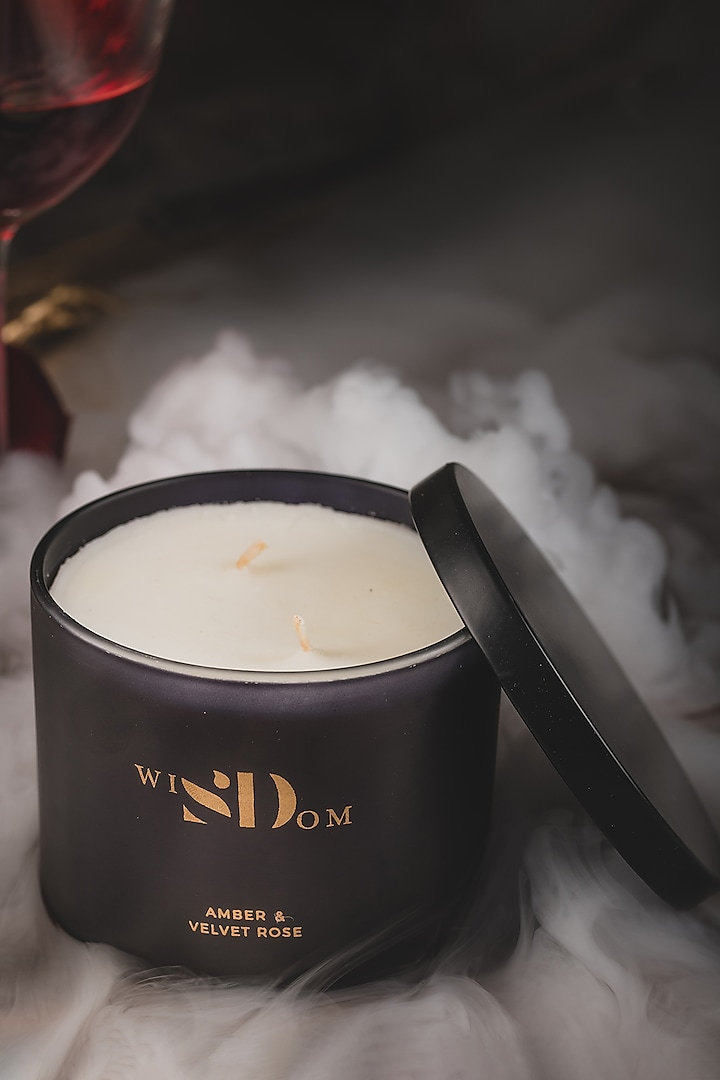 Amber &Velvet Rose Aromatic Candle by wiSDom by Sheetal Desai