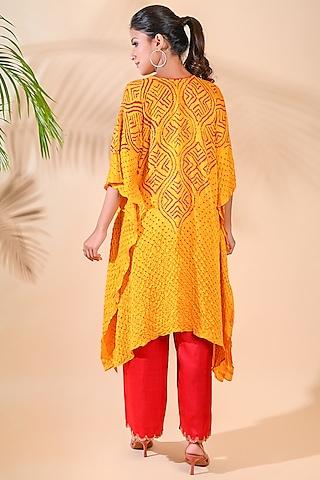 Yellow Bandhani & Embroidered Kaftan by Dyelogue
