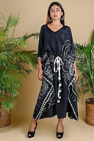 Black Bandhani & Embroidered Kaftan by Dyelogue