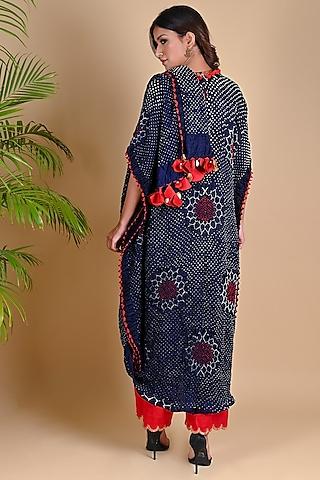 Navy Blue Bandhani Drape Dress by Dyelogue