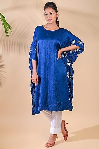 Cobalt Blue Bandhani kaftan by Dyelogue