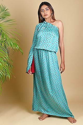 Sky Blue Bandhani Maxi Dress by Dyelogue