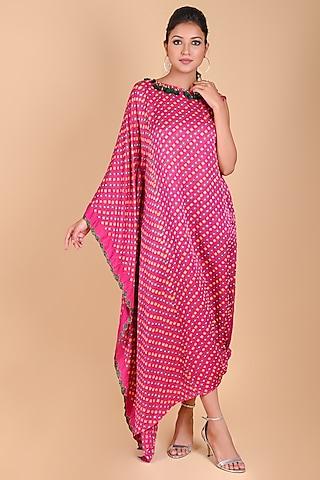 Fuchsia Bandhani One-Sleeve Kaftan by Dyelogue