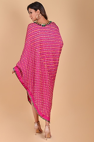 Fuchsia Tassels & Coins Embroidered Bandhani Midi Dress by Dyelogue