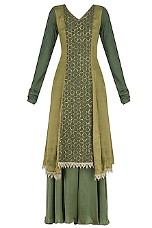 Moss Assymetrical Banarasi and Moonga Embroidered Kurta Set by Divya Gupta