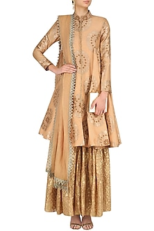 Flesh Banarasi Brocade Jacket and Sharara Pants Set by Divya Gupta