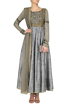 Grey Zari Embroidered Kalidaar Anarkali Set by Divya Gupta