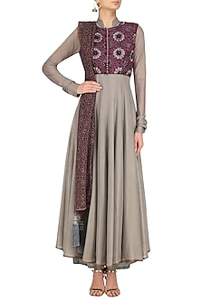 Grey and Maroon Banarasi Anarkali Set by Divya Gupta