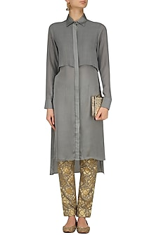 Grey Flap Kurta and Chanderi Brocade Pants Set by Divya Gupta