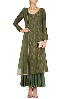 Moss Badla Embroidered Moonga Kalidaar Kurta Set by Divya Gupta