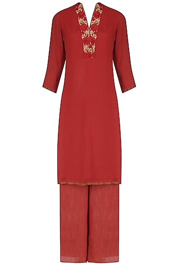 Red moonga embroidered straight kurta and palazzo set by Divya Gupta