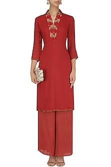 Red moonga embroidered straight kurta and palazzo set by Divya Gupta