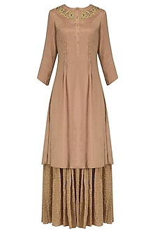 English rose pleated embroidered kurta and sharara set by Divya Gupta