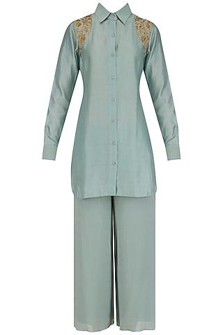 Aqua sage short embroidered chanderi kurta and culottes set by Divya Gupta