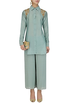 Aqua sage short embroidered chanderi kurta and culottes set by Divya Gupta
