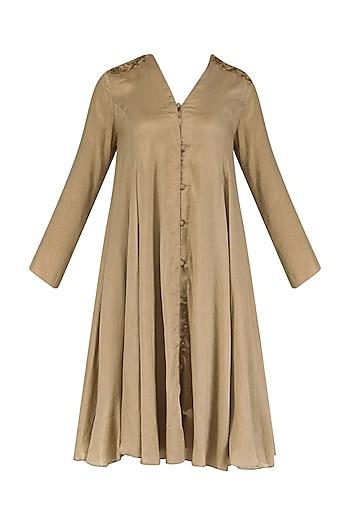 Gold thin stripe georgette flared dress by Divya Gupta