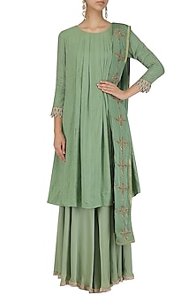 Sage green pleated moonga pashmina flared kurta and sharara set by Divya Gupta