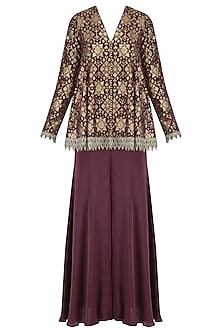 Plum handloom brocade embellished pashtun and sharara set by Divya Gupta