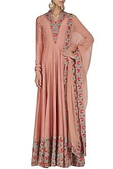 English rose thread and dabka embroidered anarkali set by Divya Gupta