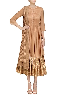 Flesh Color Multi Layered Kurta Set with Handloom Dupatta by Divya Gupta
