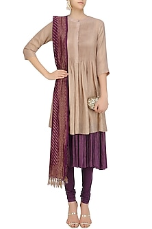 Plum Multi Layered Banarasi Shimmer Kurta Set with Handloom Dupatta by Divya Gupta