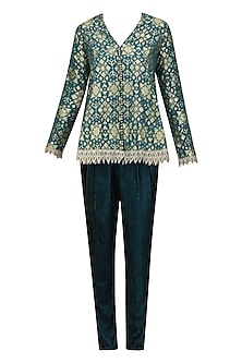 Teal Blue Brocade Embellished Pashtun with Velvet Pants by Divya Gupta