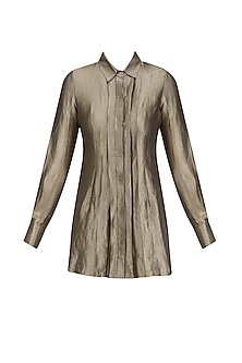 Gold Stripe Pleated Button Down Shirt by Divya Gupta