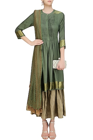 Moss Green Multi Layered Tussar Moonga Farsi Kurta Set by Divya Gupta