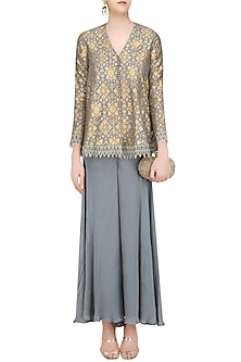 Grey Brocade Embellished Pashtun and Sharara Pants Set by Divya Gupta