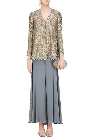 Grey Brocade Embellished Pashtun and Sharara Pants Set by Divya Gupta