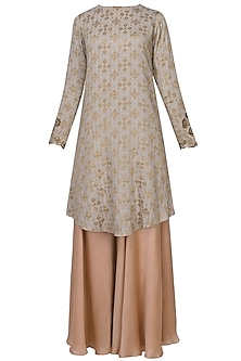 Steel Grey Zardozi Thread Embroidered Handcrafted Kurta With Blush Pink Sharara Pants Set by Divya Gupta