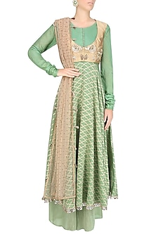 Sage Green Zardozi Embroidered Anarkali Wish Koti Waist Coat And Sage Green Palazzo Pants Set by Divya Gupta