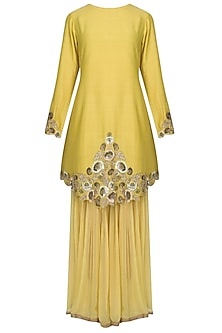 Chrome Yellow Zardozi Thread Work Kurta With Chrome Yellow Layered Palazzo Pants Set by Divya Gupta
