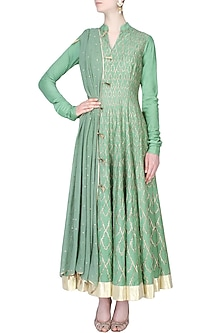 Sage Green Badla Work Kalidaar Kurta With Churidaar Pants Set by Divya Gupta