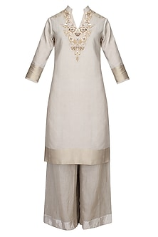 Steel Grey Zardozi Thread Work Kurta With Matching Palazzo Pants by Divya Gupta
