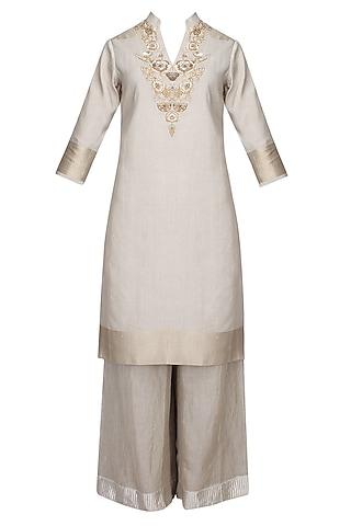 Steel Grey Zardozi Thread Work Kurta With Matching Palazzo Pants by Divya Gupta