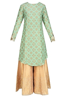 Sage Green Zardozi Embroidered Kurta With Golden Shimmer Sharara Pants by Divya Gupta