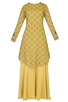 Chrome yellow zardozi embroidered handcrafted kurta with chrome yellow sharara pants set by Divya Gupta