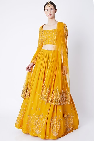 Mustard Embroidered Lehenga Set by Ease