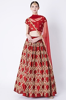Red Heavy Embroidered Lehenga Set by Ease