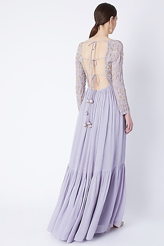 Lavender Sequins Embroidered Anarkali With Dupatta by Ease